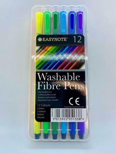 Assorted Washable Fibre Pens - 12 pack