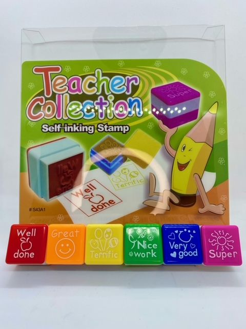 Self Inking Teacher Stamps - Set of 6