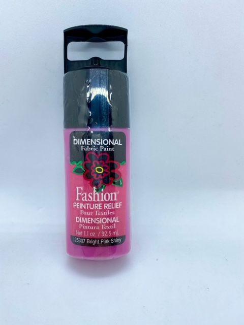 Fashion Dimensional Fabric Paint - Shiny Bright Pink