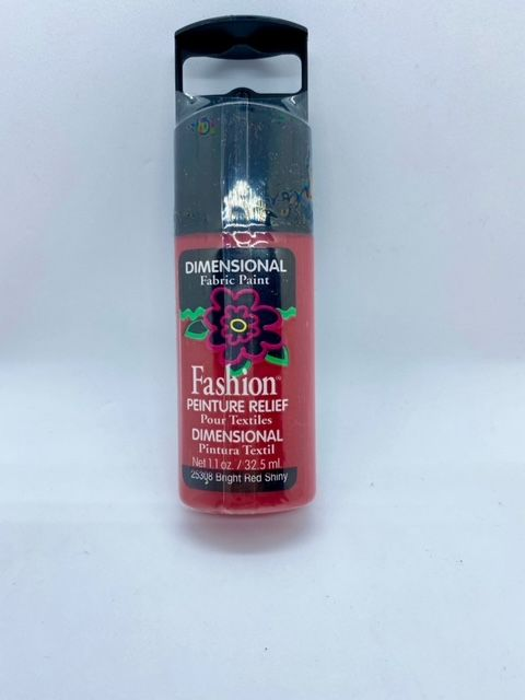 Fashion Dimensional Fabric Paint - Shiny Bright Red