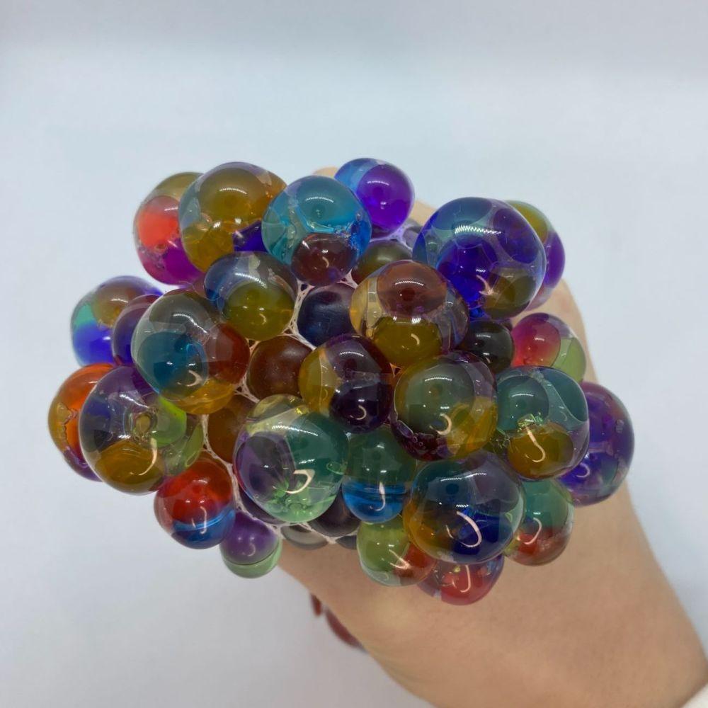Squishy Rainbow Mesh Ball With Beads