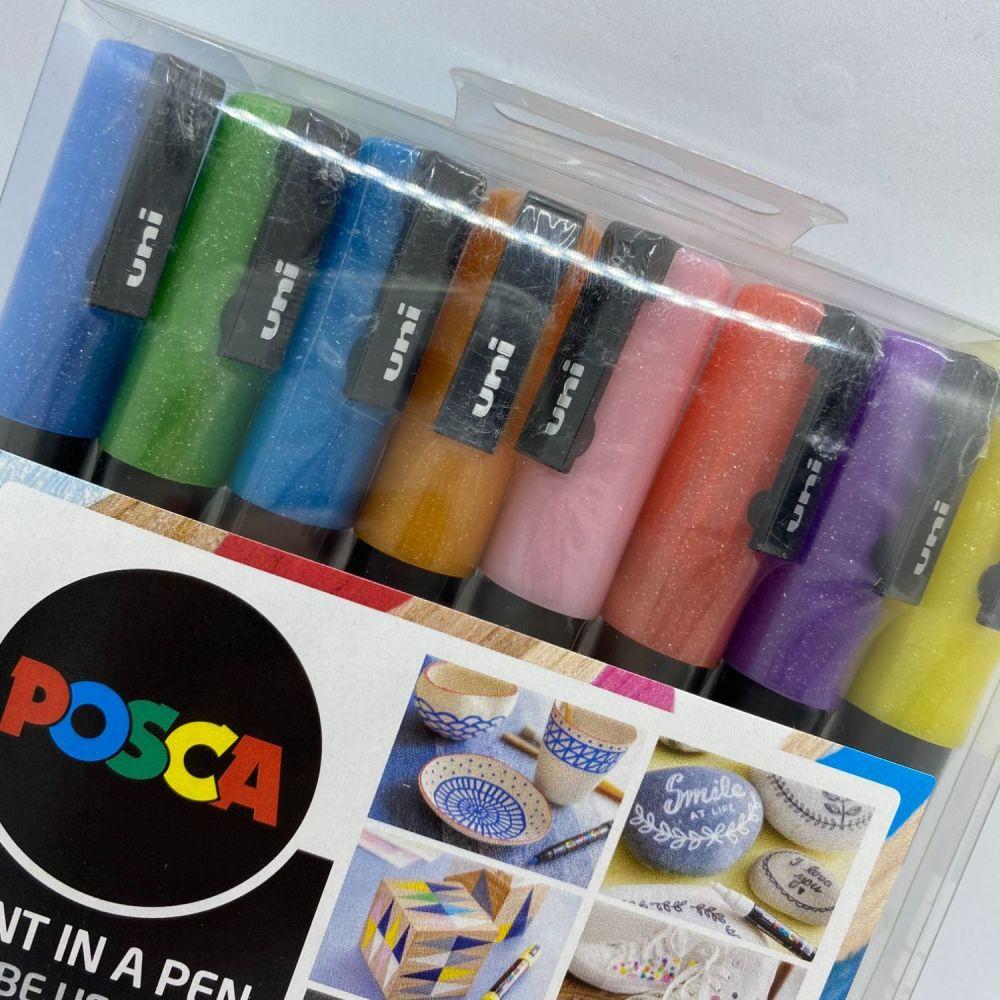 Uniball Posca Pack of 8 Sparkling Paintmarker Set