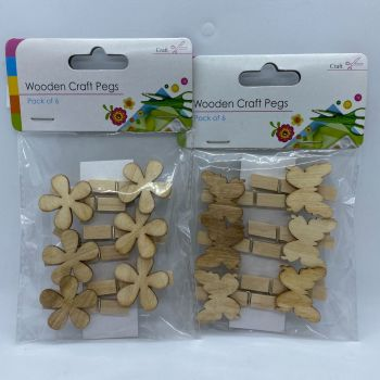 Pack of 6 Wooden Craft Pegs