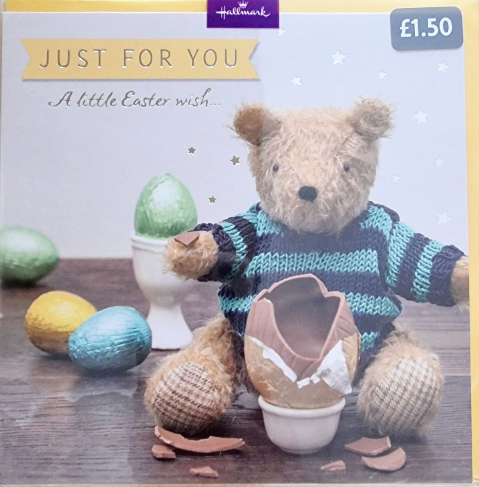 Just For You Teddy Easter Card