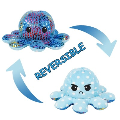 Reversible Happy/Sad Octopus Metallic