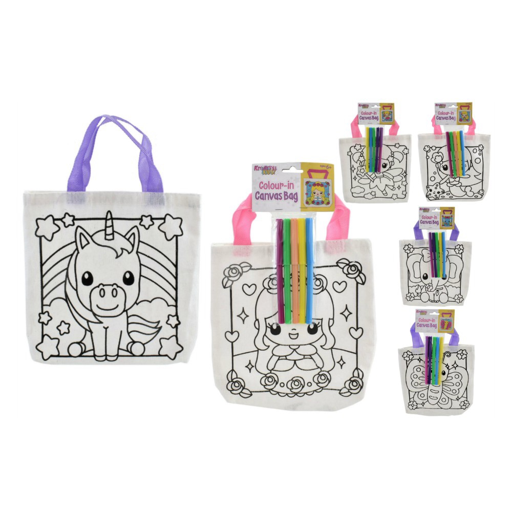 Colour Your Own Canvas Bag (Girls)