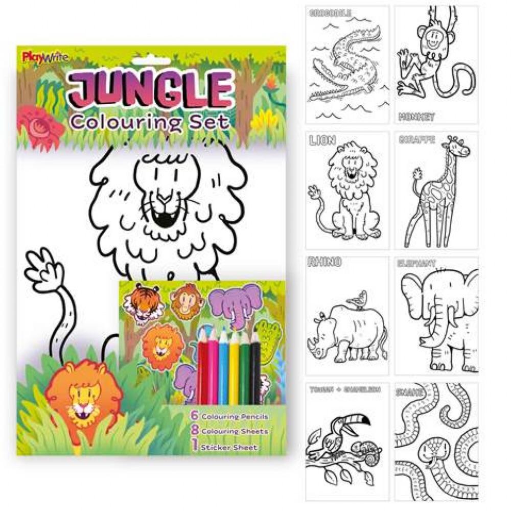 Jungle Animal Colouring Set