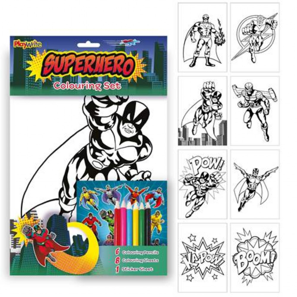 Super Hero Colouring Set