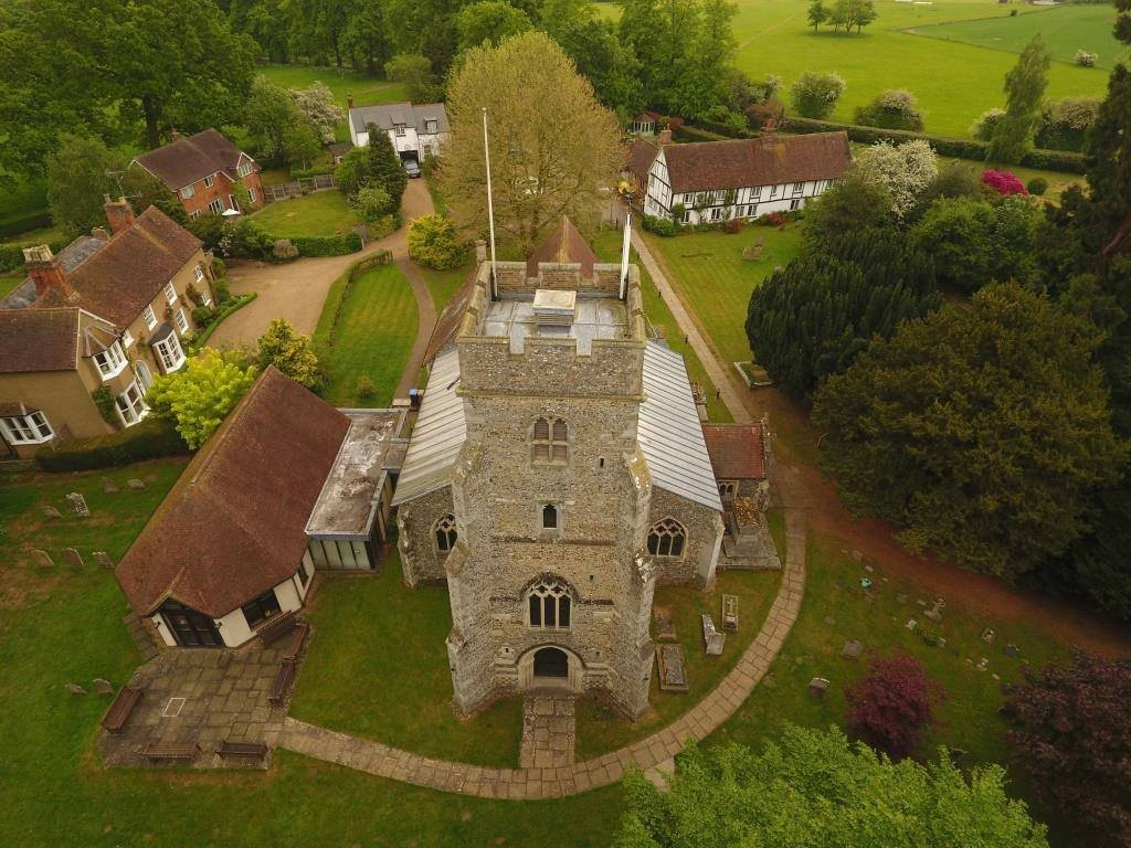 Drone picture showing St Mary's church from above