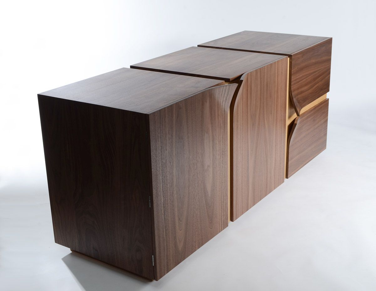 Solid walnut credenza with oak accents