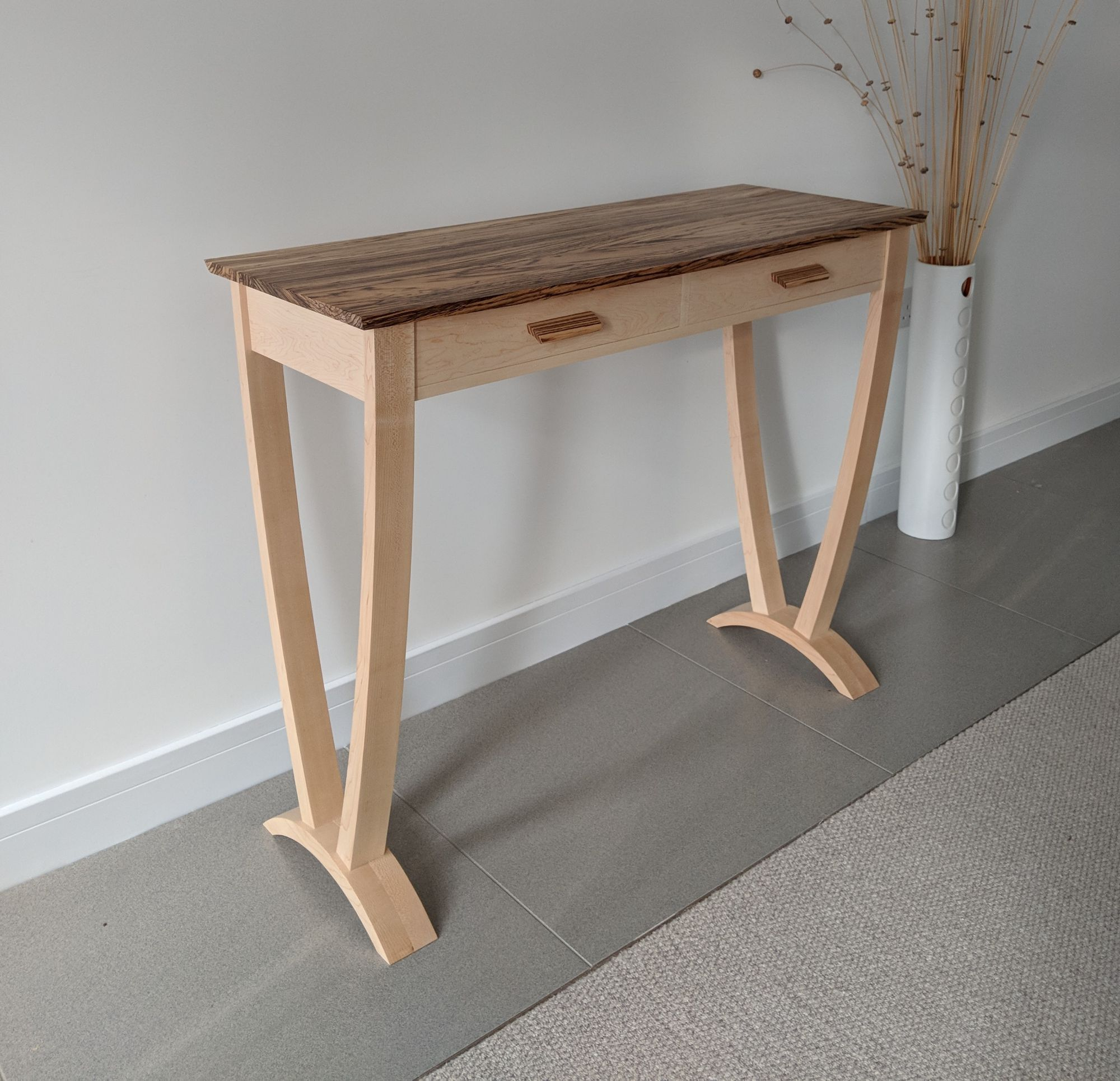 Hallway console table in maple and zebrano