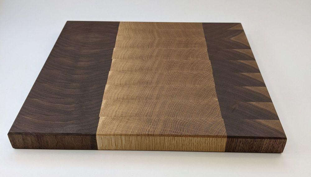Walnut and oak end grain board