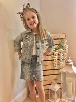 Denim Pearl Embellished Skirt