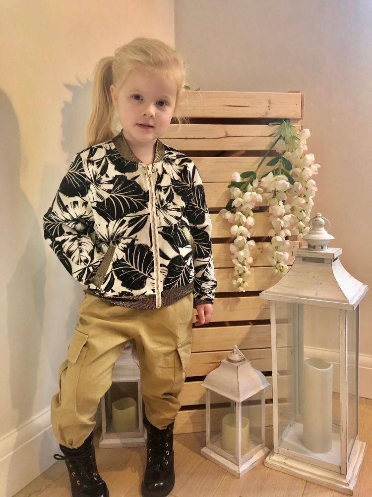 Gold Flower Bomber Jacket