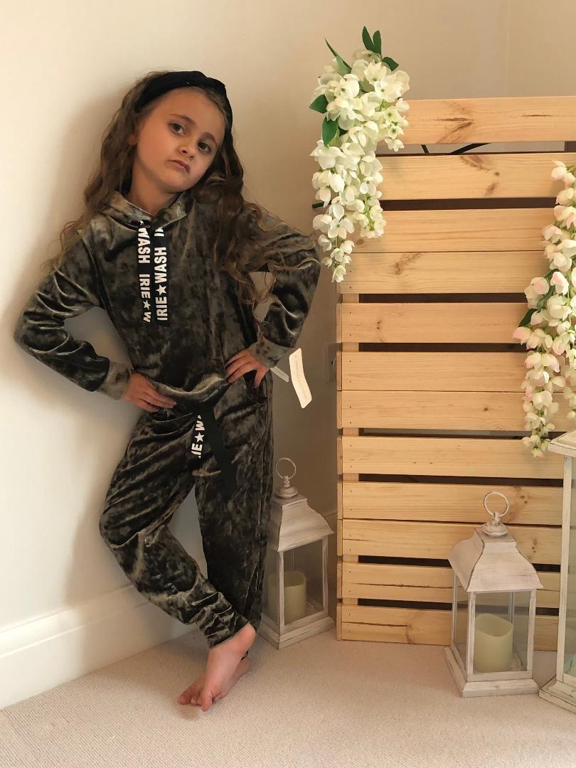 Khaki Crushed Velour Loungewear