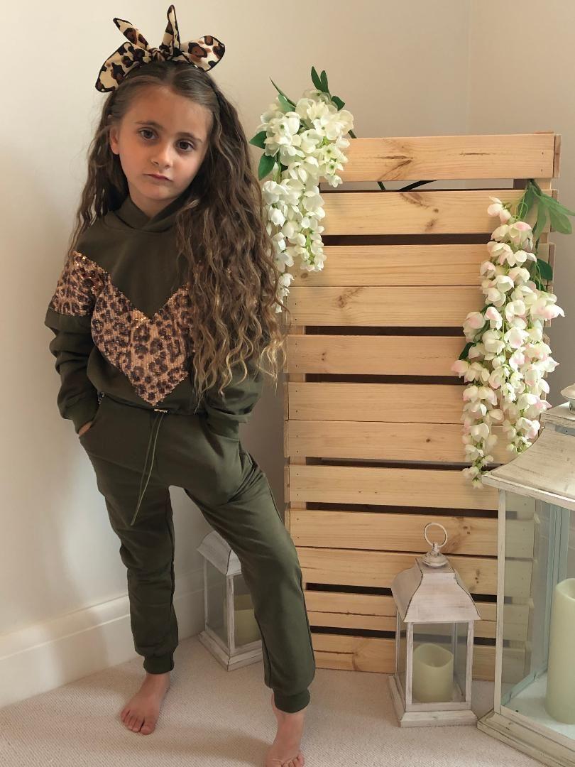 'Leopard Sequin' Khaki Set