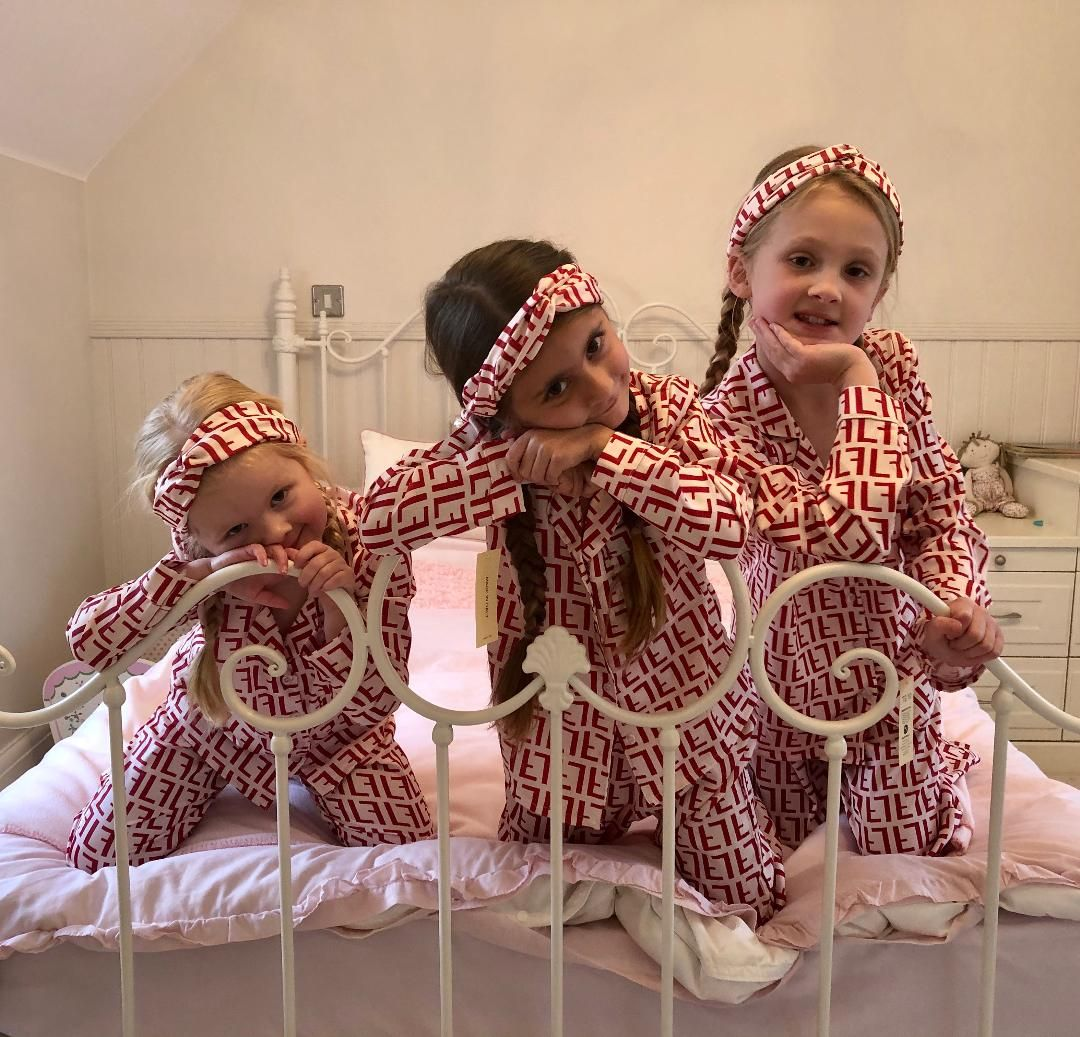 'F'  printed silk Pyjamas