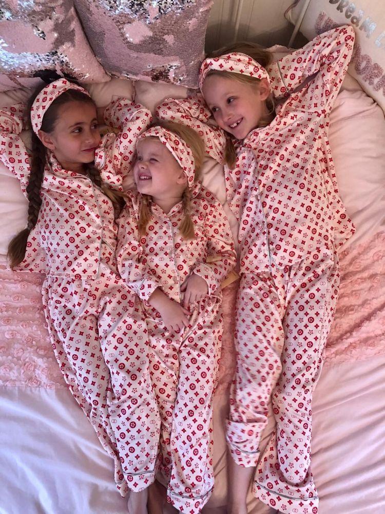 'LV' Print Silk Pyjamas