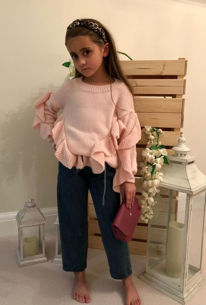 Knitted Frill Sleeve Jumper