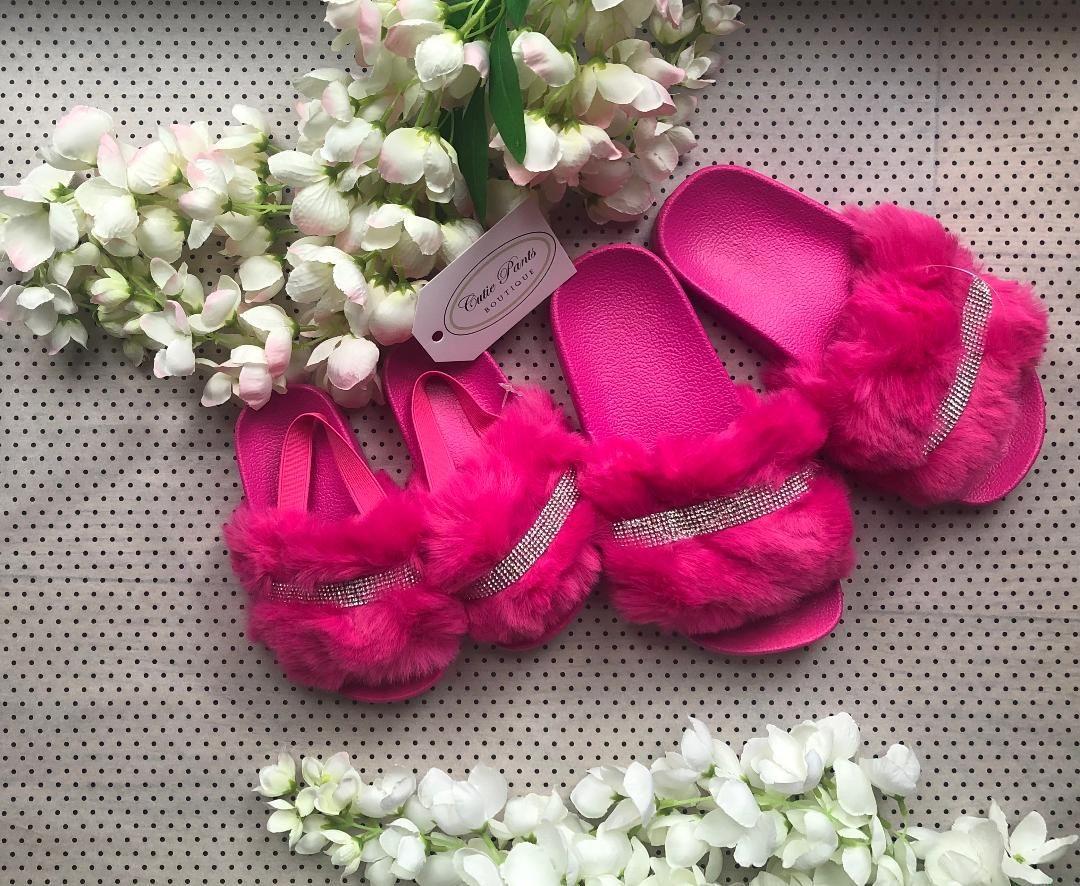 Fuchsia Pink 'Diamante' Slippers