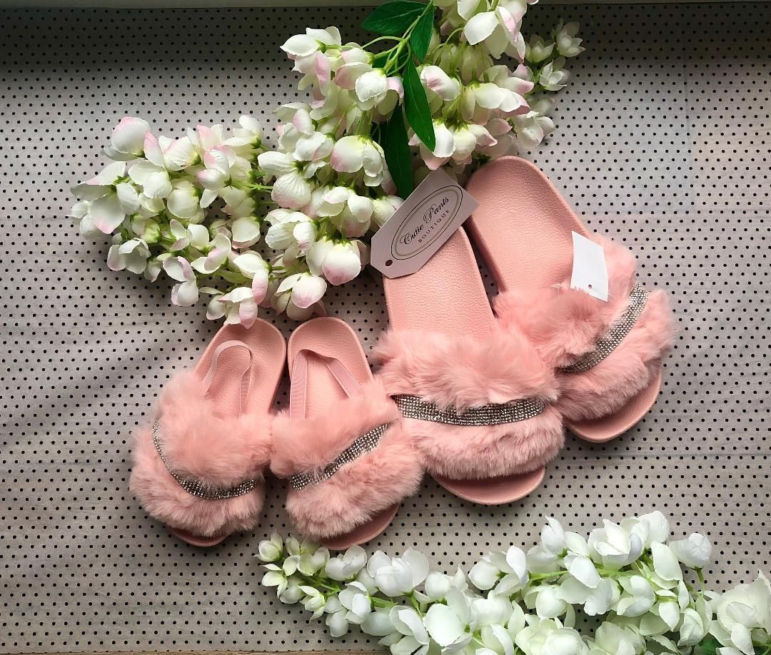 Baby Pink 'Diamante' Slippers