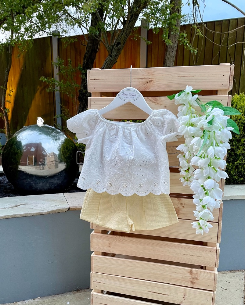 Cotton Lace Top & Lemon Shorts