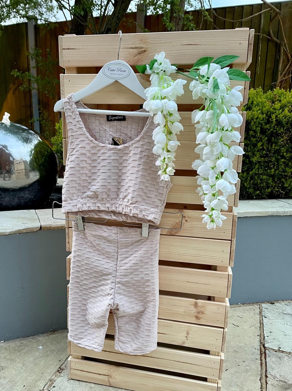 Beige Biker shorts & Vest