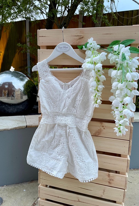 White  Cotton Lace Playsuit