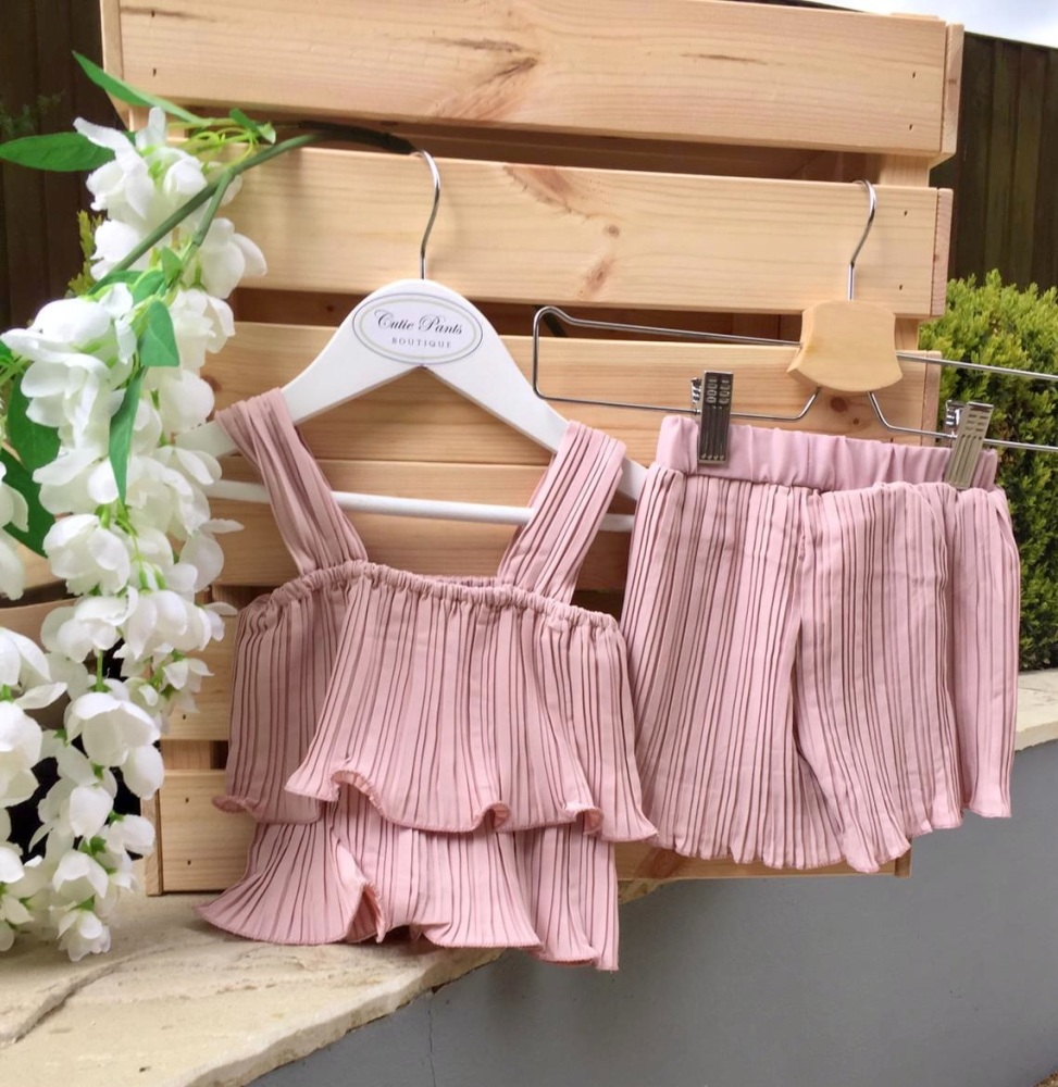Pleated Top & Shorts