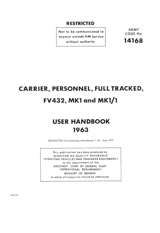 FV432 Mk. 1, 1/1 User Handbook