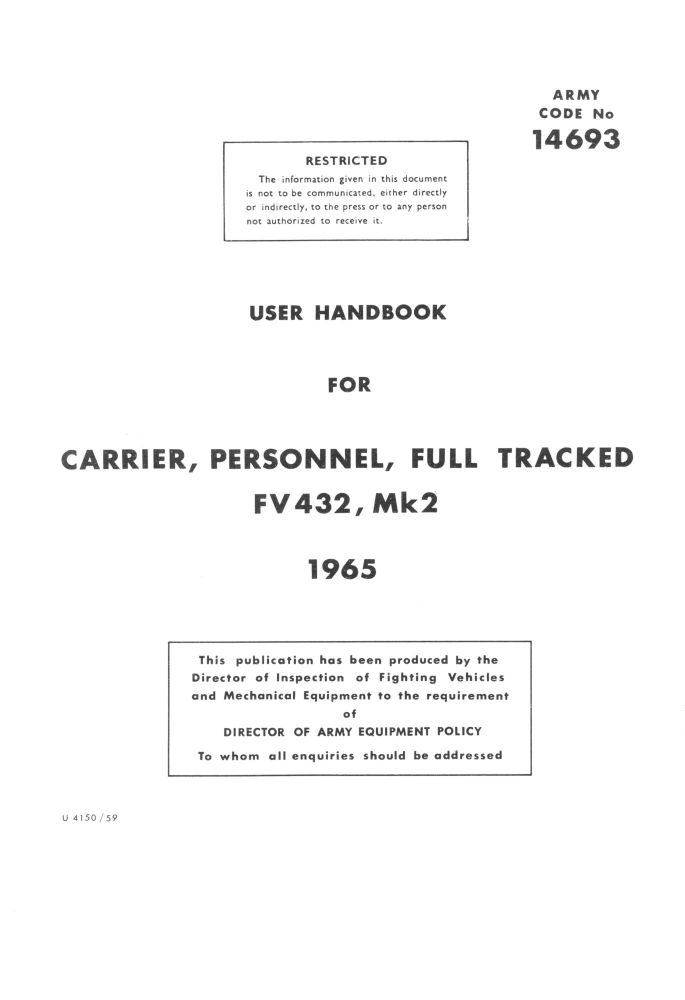 FV432 Mk. 2, 2/1 User Handbook