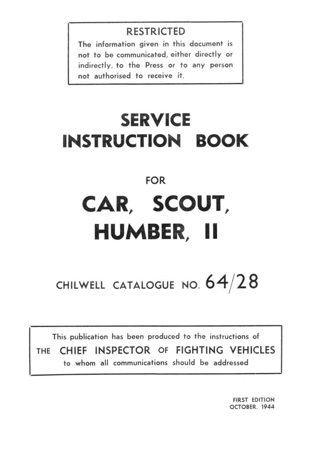 Humber Scout Car II Instruction Book