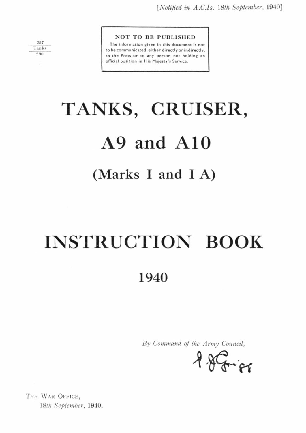 Cruiser Mk I & II (A9 & A10) Instruction Book