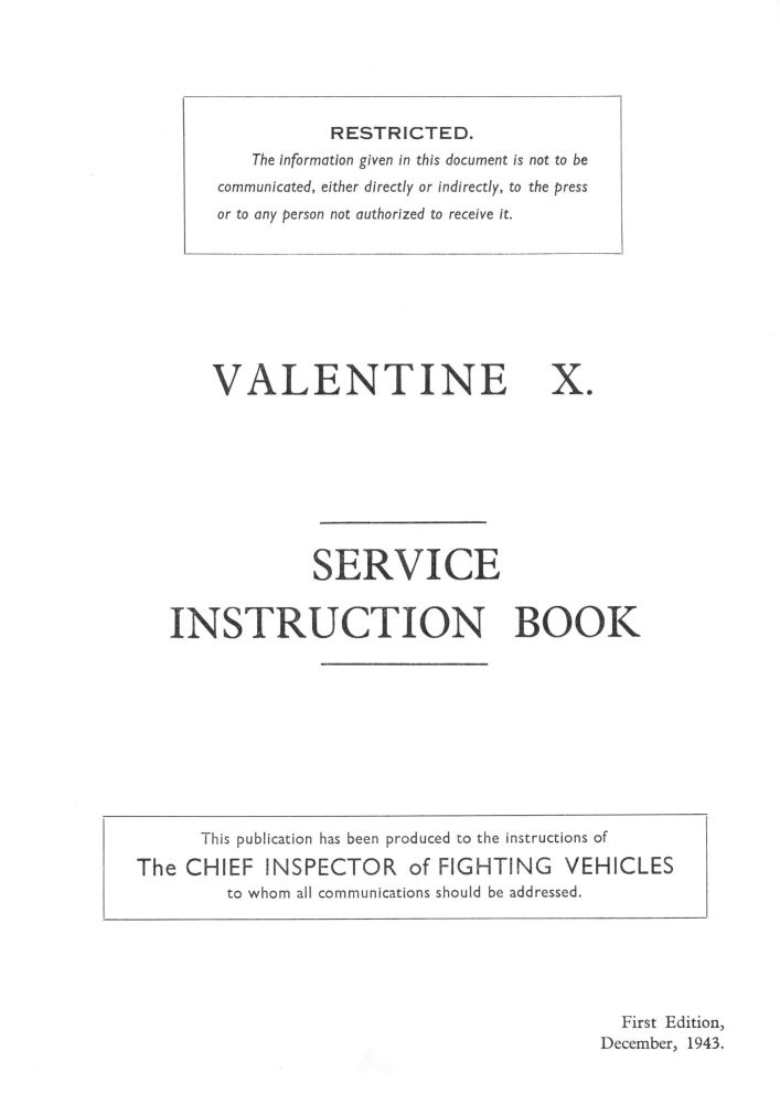 Valentine X Service Instruction Book