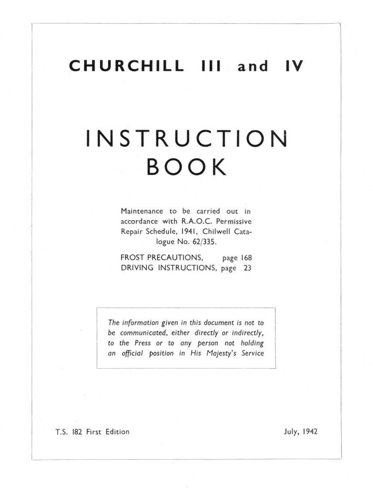 Churchill III & IV Instruction Book