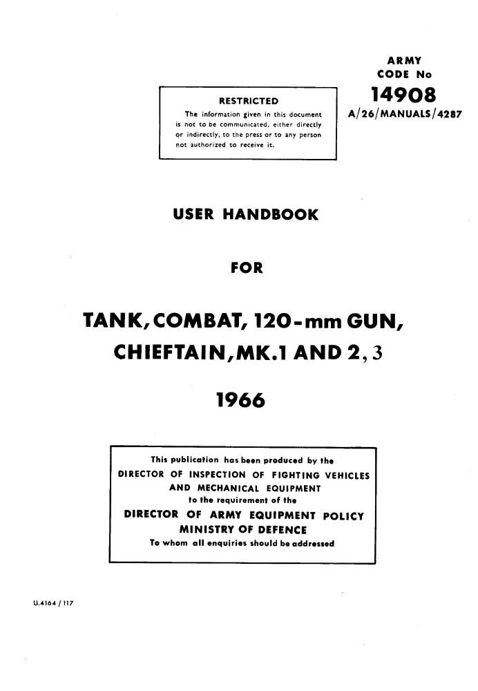 Chieftain Mk 1-3 User Handbook