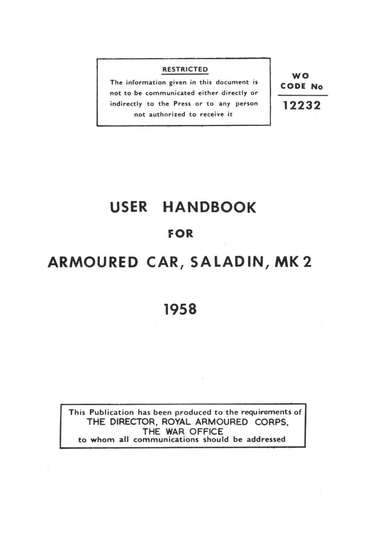 Saladin Mk 2 User Handbook