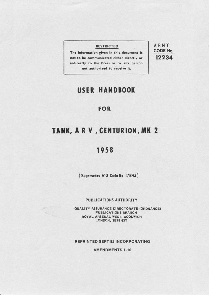 Centurion Mk 2 ARV User Handbook
