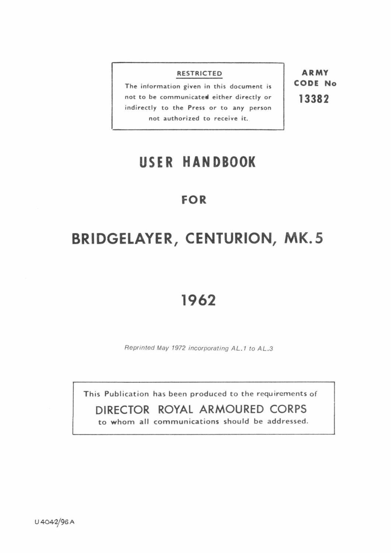 Centurion Mk 5 Bridgelayer User Handbook