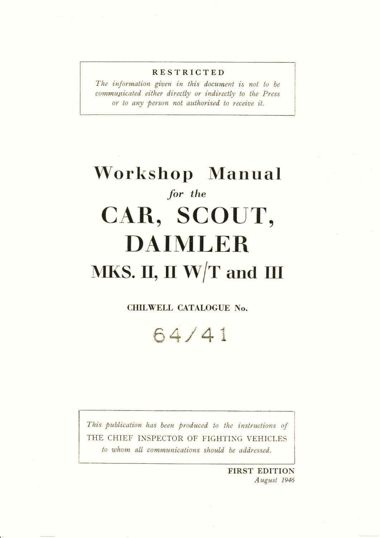 Daimler Dingo Scot Car Mks II, II W/T & III Workshop Manual