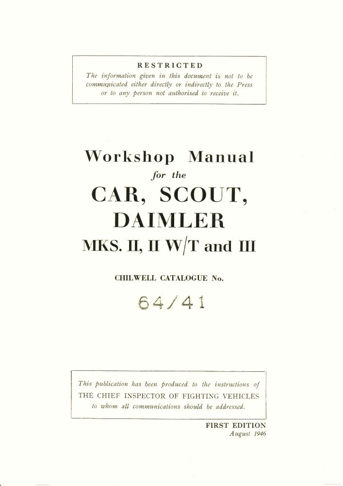 Daimler Dingo Scout Car Mks II, II W/T & III Workshop Manual