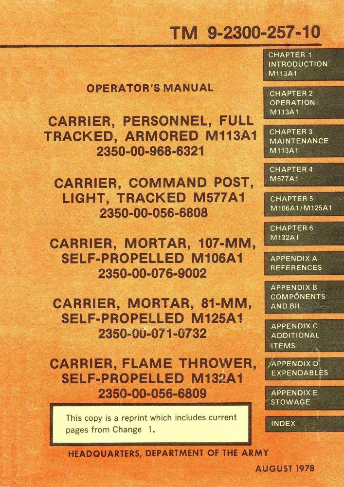 M113 Operator's Manual