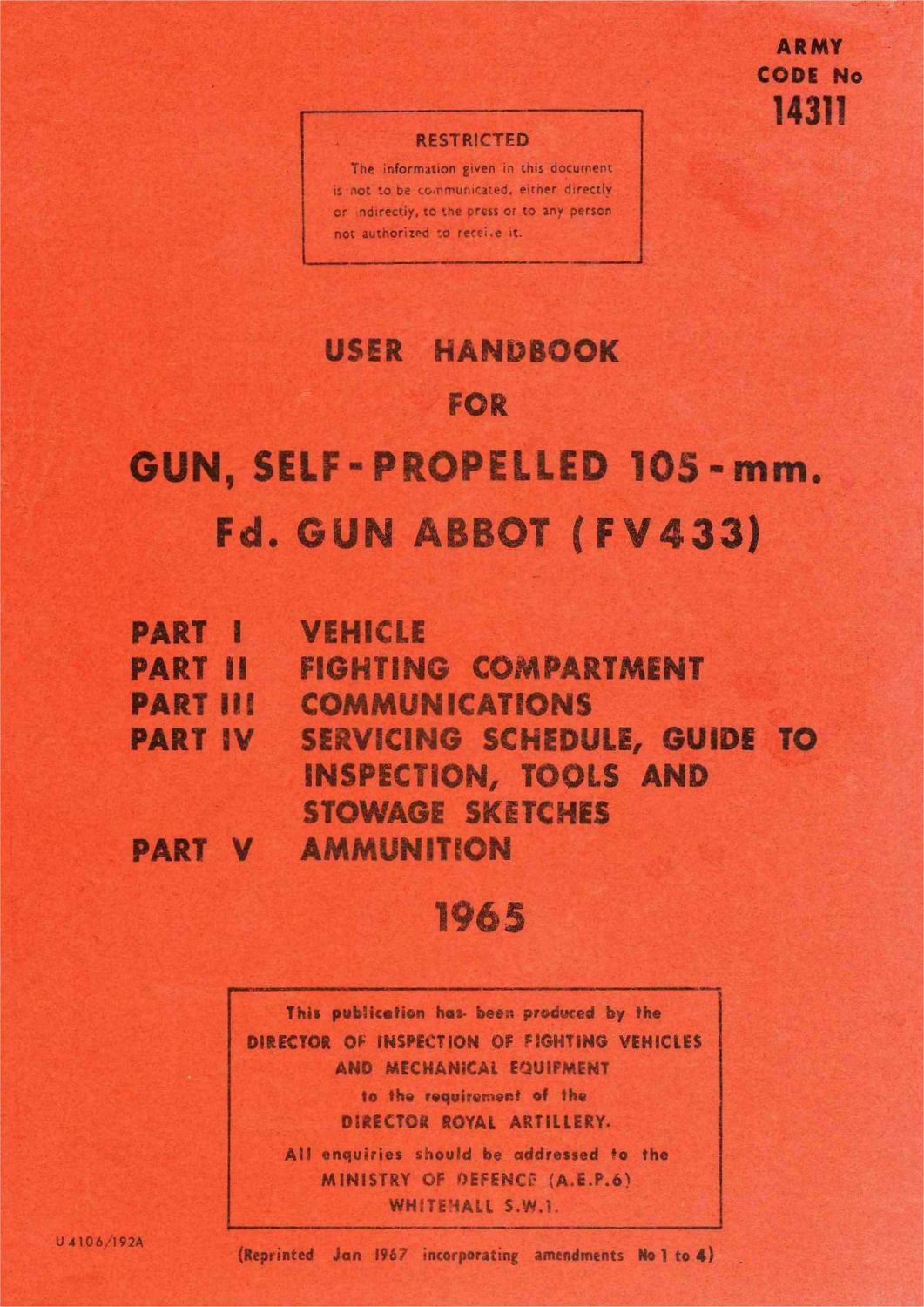 FV433 Abbot 105mm User Handbook