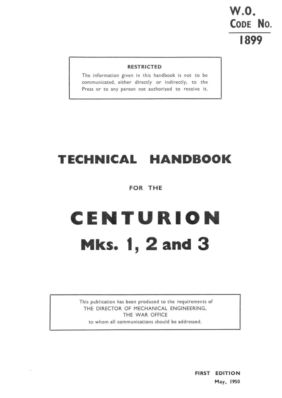 Centurion Mks. 1, 2 & 3 Technical Handbook