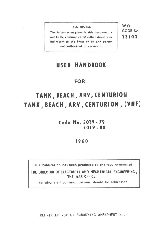 Centurion BARV User Handbook