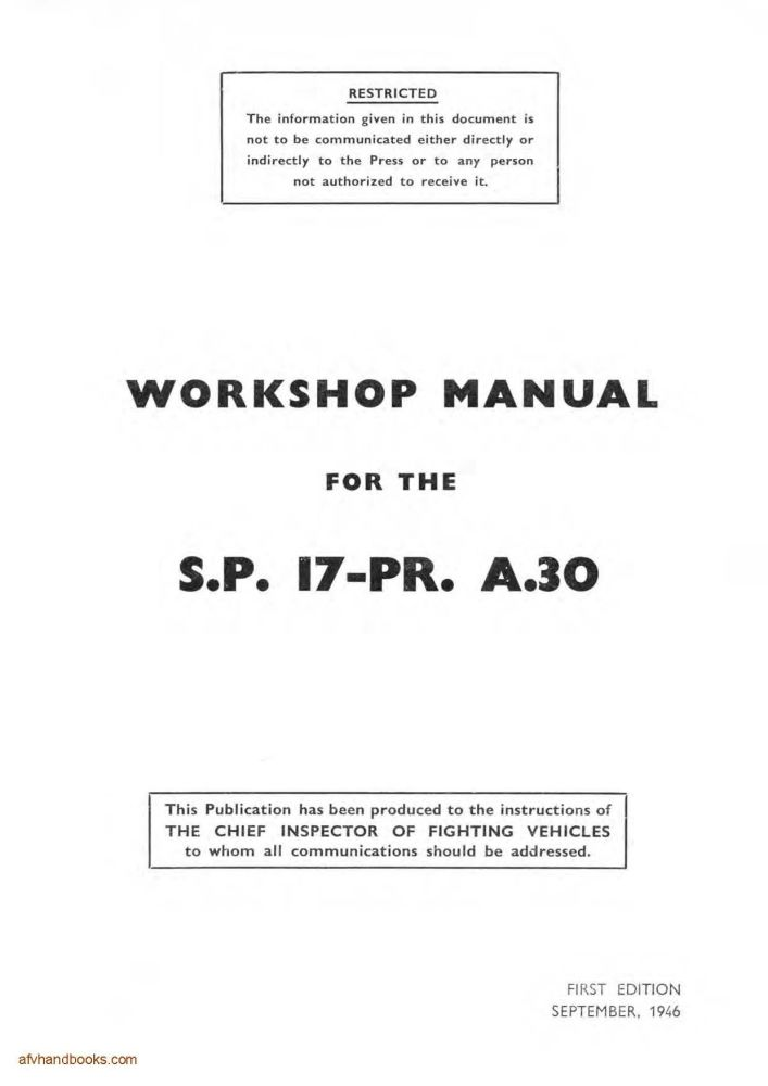 Cromwell SP 17-pdr A30 (Avenger) Workshop Manual