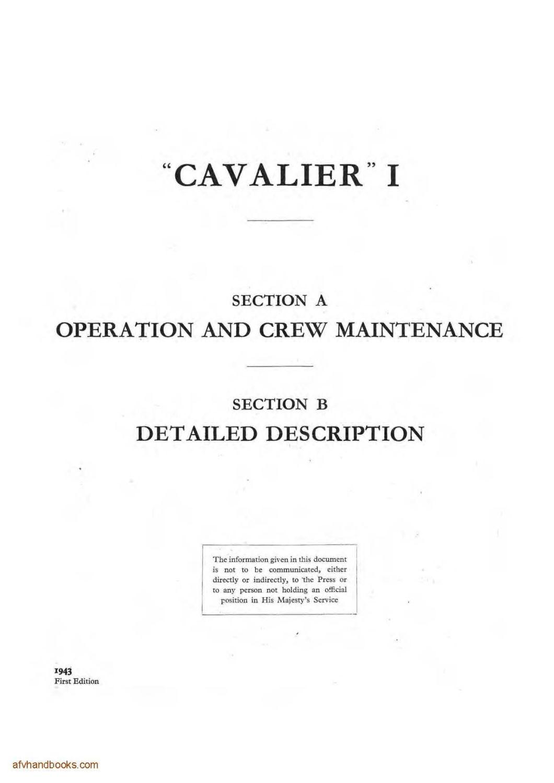 Cruiser Tank Mk VII 'Cavalier' (A24) Instruction Book