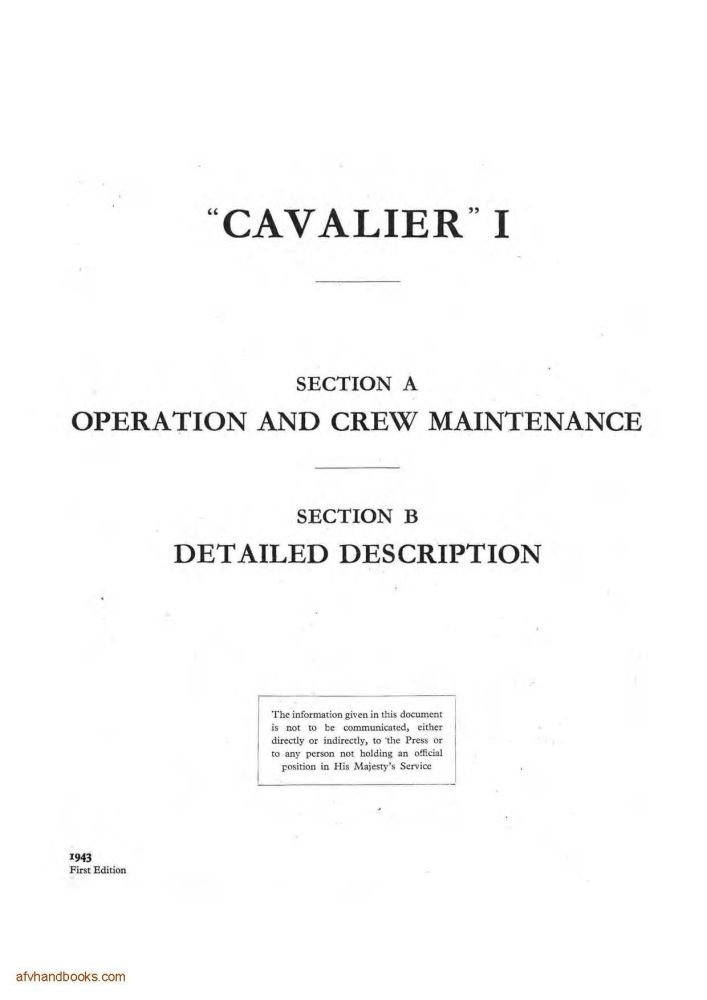 Cruiser Tank Mk VII 'Cavalier' (A24) Instruction Book