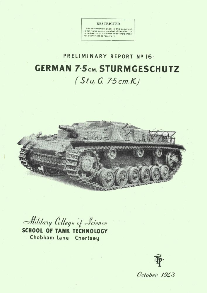 StuG 7.5cm K Assault gun STT Report No 16