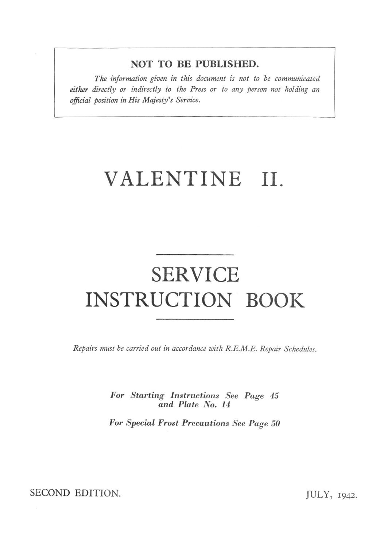 Valentine II Service Instruction Book